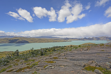 Panoramic View of Lake Nordenskjold in Torres del Paine National Park in Patagonian Chile