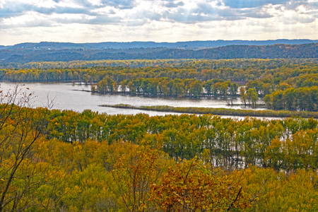 Sun and Clouds in the Fall on the Mississippi at Nelson Dewey State Park in Wisconsin