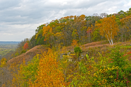 bluff: Fall Colors on a Midwest Bluff at Nelson Dewey State Park in Wisconsin