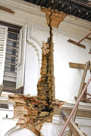 earthquake crack: Earthquake Damage to a Building near Durbar Square in Nepal
