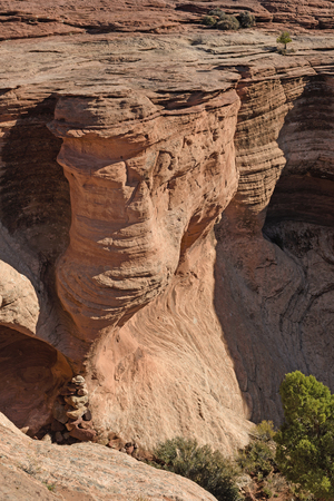 Sculpted Rocks in the West in Canyon de Chelly in Arizona 版權商用圖片