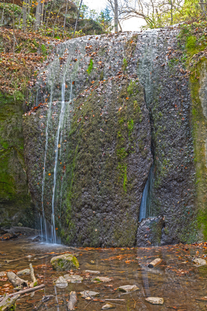 Quiet Stephens Falls in the Forest in Governor Dodge State park in Wisconsin Stock Photo