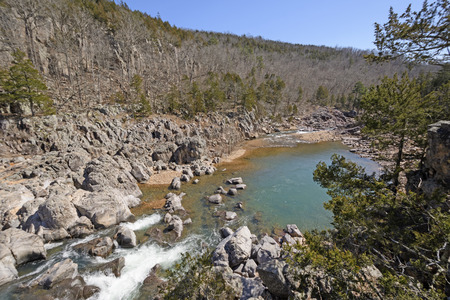 Colorful Pool Between the Rapids in Johnsons Shut-ins State Park in Missouri