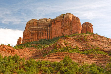 enebro: Red Rock Formations against the Sky at the Cathedral Rocks near Sedona, Arizona