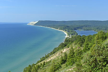 Looking at the Dunes on a Lakeshore in Sleeping Bear Dunes National Lakeshore