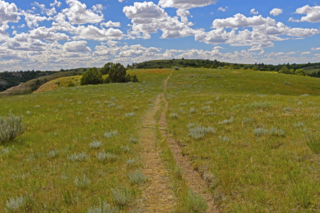 Old Trail Across the Rolling Plains in Theodore Roosevelt National Park in North Dakota