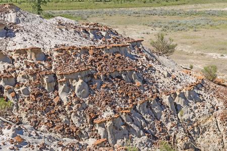 Eroded Rocks on a Badlands Ridge in Theodore Roosevelt National Park in North Dakota