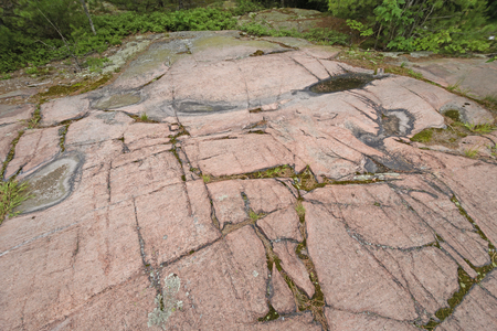 Glacial Scraped Granite on the Canadian Shield in Killarney Provincial Park in Ontario, Canada Stock Photo