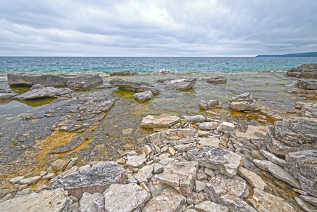 Rocky Shore Looking out to Georgian Bay on Lake Huron in Bruce Peninsula National Park in Ontario, Canada