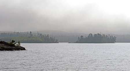 Islands in the Morning Mist on Little Saganaga Lake in the Boundary Waters of Minnesota