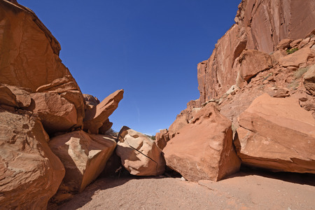 Rock Jam in a Desert Canyon in Spring Canyon in Capitol Reef National Park in Utah Stock Photo