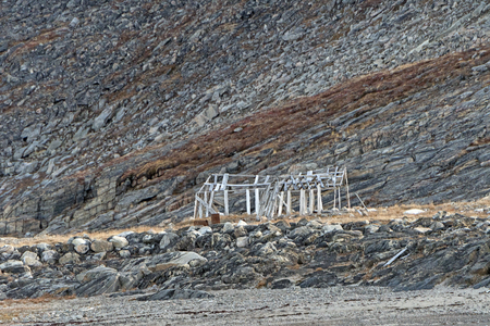 Old Building Frame in the High Arctic on Baffin Island in Nunavut, Canada