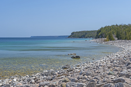 Remote Gravel Beach in the Great Lakes on Lake Huron in Bruce Peninsula National Park in Ontario