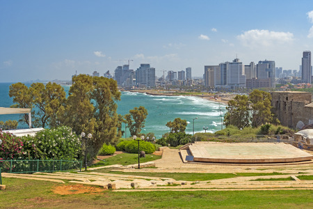 Tel Aviv Skyline from Peak Park in Jaffa, Israel Stock Photo
