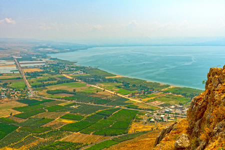 View of Sea of Galilee from above on Mount Arbel in Israel