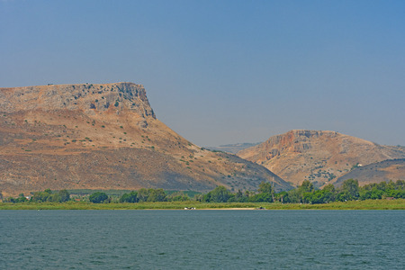 Dramatic Desert Cliffs of Mount Arbel from the Sea of Galilee