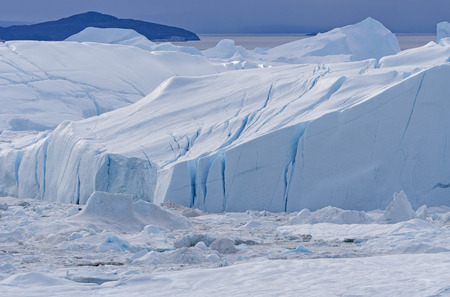 Icebergs Frozen in the Icefjord of the Icefjord of Ilulissat, Greenland