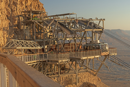Funicular Terminal on a Desert Cliff at Masada National Park in Israel Stock Photo