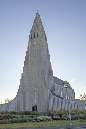 Dramatic Steeple in Hallgrímskirkja church in Reykjavík, Iceland Stock Photo