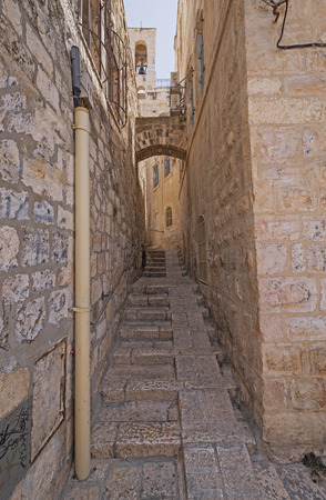 Secluded Walkway in an Old Jerusalem in Israel