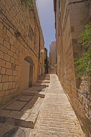 Narrow Walkway in Old Jerusalem in Israel