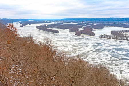 Looking North on the Frozen Upper Mississippi River from Pikes Peak State Park in Iowa