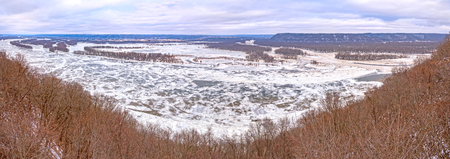 Panoramic Confluence of the Wisonsin and Mississipi Rivers in Winter from Pikes Peak State Park in Iowa