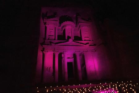 The Treasury in Petra in Colored LIghts at Night in Petra, Jordan
