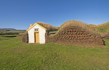 Entrance to a Sod House with Wall Details near Glaumbaer, Iceland