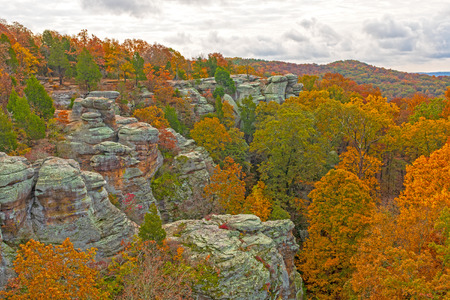 Fall Colors Amongst the Rocky Ridges of Garden of the Gods in Shawnee National Forest in South Illinois