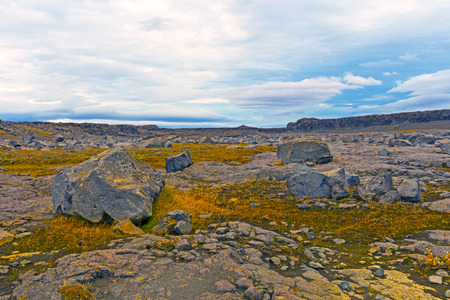 Desolate Volcanic Plains near Dettifoss in Northern Iceland Stock Photo