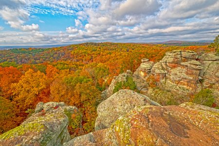 Sunny Skies and Fall Colors in Garden of the Gods in Shawnee National Forest in Southern Illinois