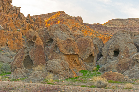 Bizarre Rocks in Evening Light in the Hole in the Wall area of the Mojave Preserve in California 写真素材