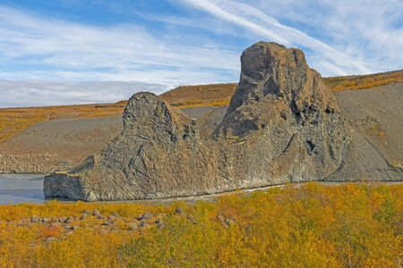 Dramatic Volcanic Formations amongst the Fall Colors in Hljodaklettar National Park in Northern Iceland