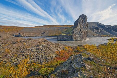 Powerful River Cutting through Volcanic Rock in the Fall in Hljodaklettar National Park in Iceland
