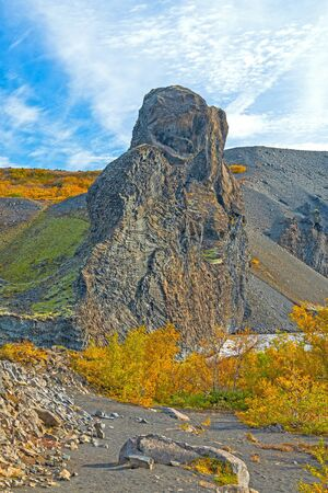 Dramatic Volcanic Rocks Amidst the Fall Colors in Hljodaklettar National Park in Northern Iceland Stock Photo