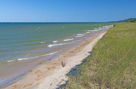Waves Breaking on a Remote Lakeshore on Lake Michigan Near Montague, Michigan Фото со стока