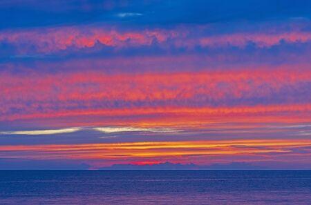 Spectacular Colors at Twilight over Lake Michigan near  Montague, Michigan Фото со стока