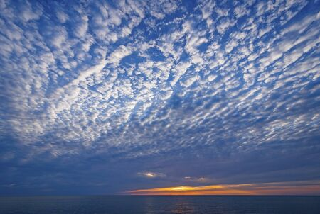 Spectacular Stratus Clouds Above the Sunset on Lake Michigan near Montague, Michigan