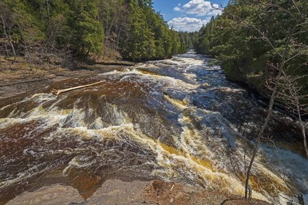 Dramatic Cascades on the Presque Isle River in Spring in Porcupine Mountains State Park in Michigan
