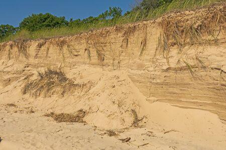Beach Erosion on a Lake Michigan Shore near Montague,. Michigan Фото со стока