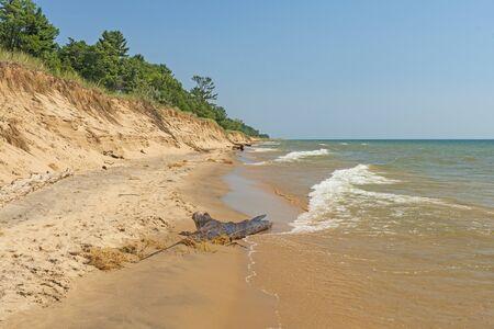 Sand and Waves on a Remote Lake Michigan Beach near Mantague, Michigan