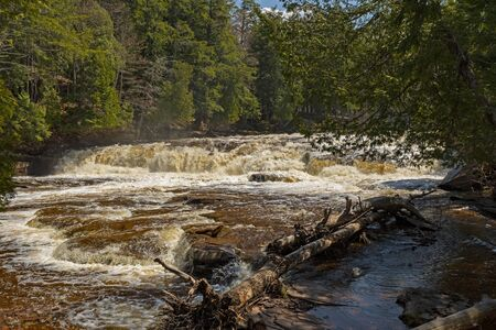Roaring Waters in the Forest on the Presque Isle River in Porcupine Mountains State Park in Michigan