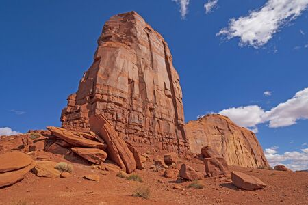 Red Rock Buttes Reaching to the Sky in Monument Valley in Arizona Stock Photo
