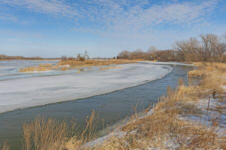 Partially Frozen Platte River in Late Winter near Kearney, Nebraska Stock Photo