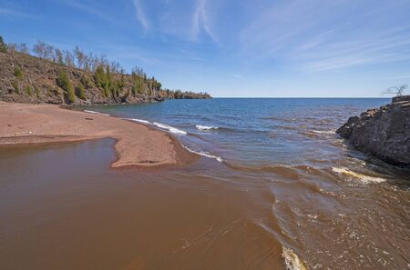 The Gooseberry River Emptying into Lake Superior at Gooseberry Falls State Park in Minnesota