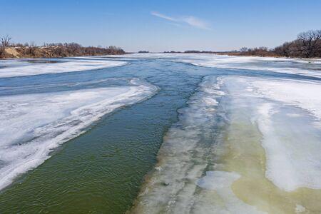 Ice and Water on the Platte River in Late Winter near Kearney, Nebraska Stock Photo