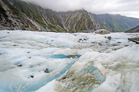 Surface View of an Alpine Glacier in the Franz Josef Glacire in New Zealand Stock Photo