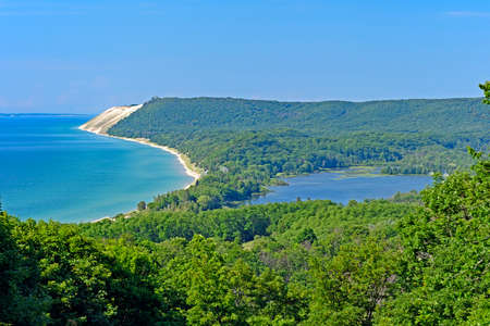 Forested Sand Dunes on a Sunny Day in Sleeping Bear Dunes National Lakeshore in Michigan