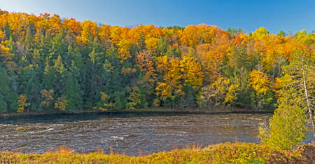 Colors of the North Woods in Fall on the Menominee River in Michigan